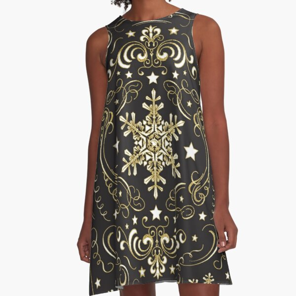 Ornate Snowflake Pattern - Black 2 A-Line Dress