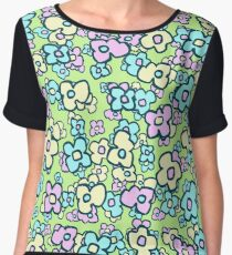 Cheerful Little Folk Art Flowers Spring Green 2 Women's Chiffon Top
