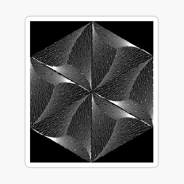 Psychedelisches Sechseck Design Schwarzweiß Sticker