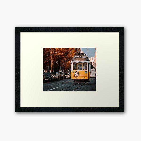 Retro Lisbon electric tram Framed Art Print