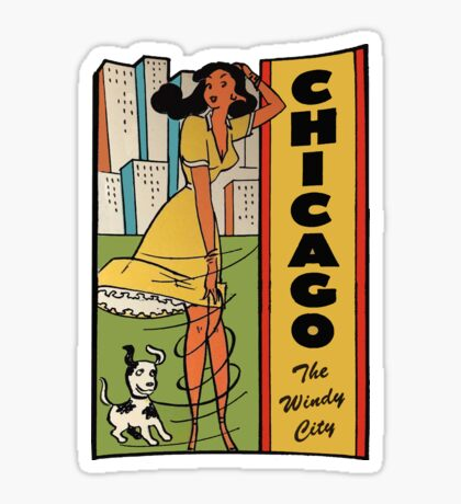 Chicago Illinois Vintage Travel Decal Sticker