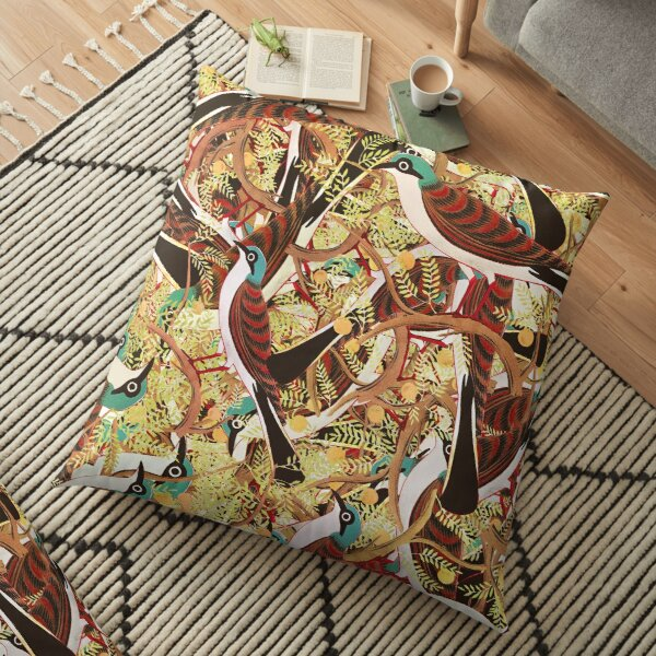 Fall Reflection, Seamless Pattern With Birds And Leaves Floor Pillow