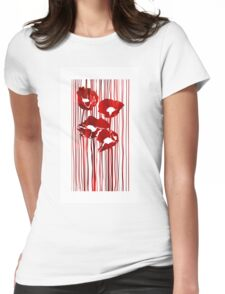 Poppies red flowers abstract.  Womens Fitted T-Shirt