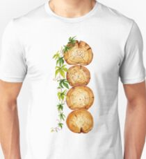 watercolor cross section of tree trunk with  climbing plant T-Shirt