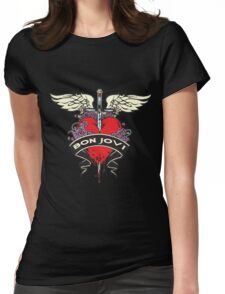 NICE!! BON JOVI RED HEART Womens Fitted T-Shirt