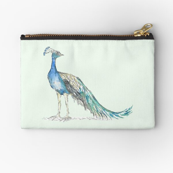Watercolor sketch of a peacock Zipper Pouch