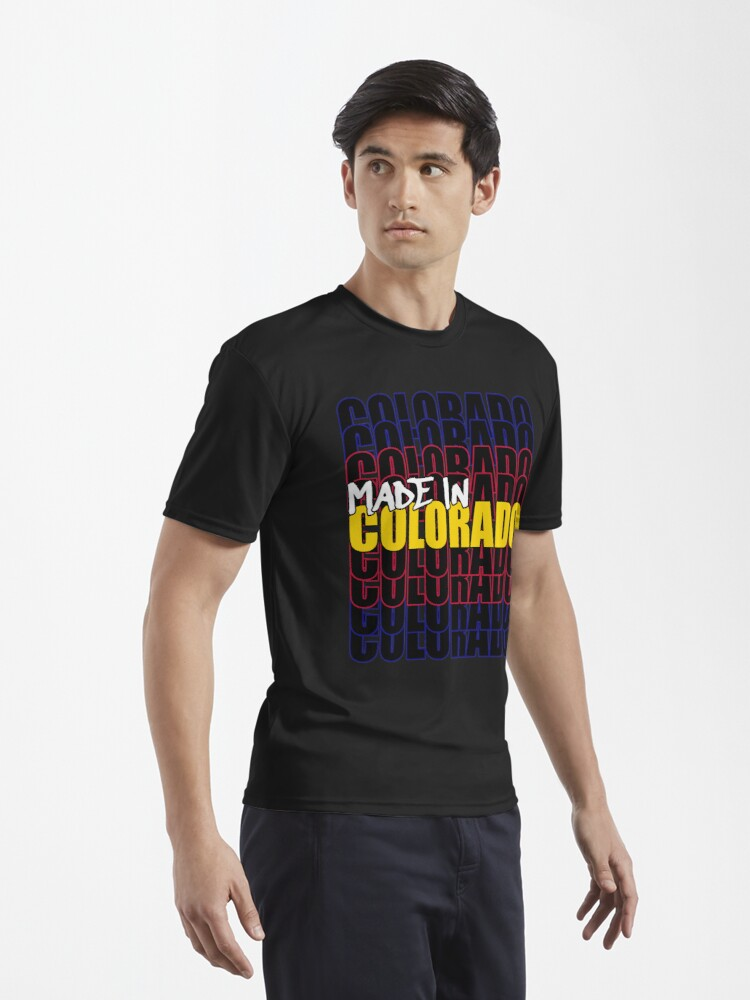 Alternate view of Made In Colorado State Flag Typography Active T-Shirt