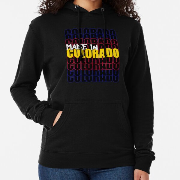 Made In Colorado State Flag Typography Lightweight Hoodie