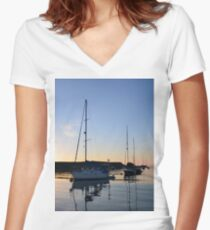 Tranquil Anchorage Women's Fitted V-Neck T-Shirt