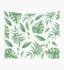Green Leaves Pack (White Version) Wall Tapestry