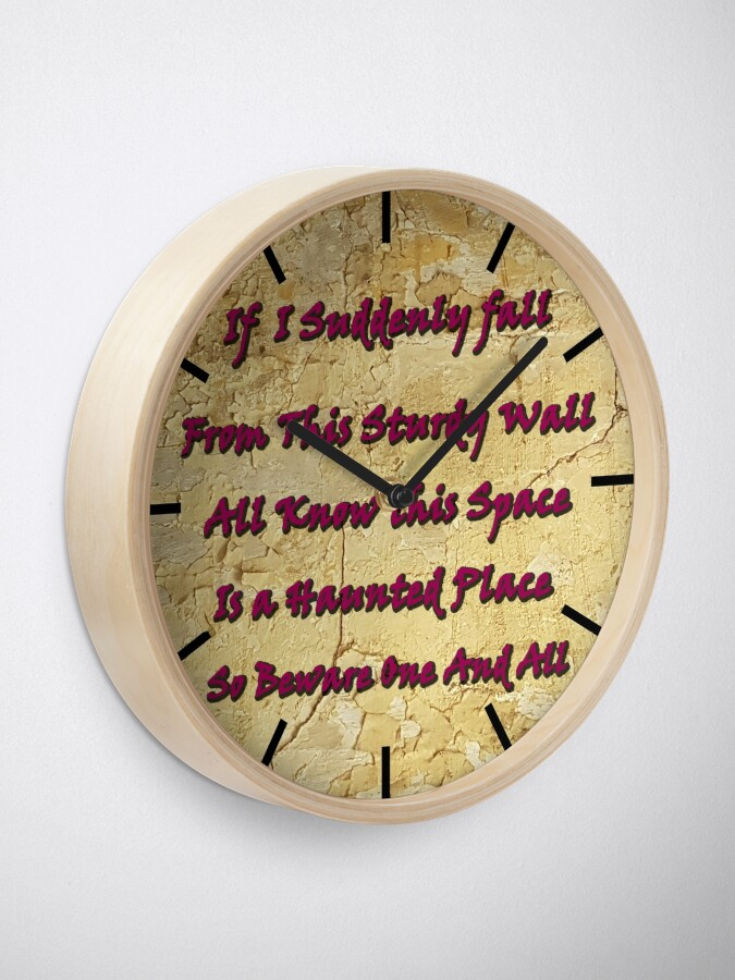 Alternate view of Haunted house sign. Detect if you have a haunted house with this wall art  Clock