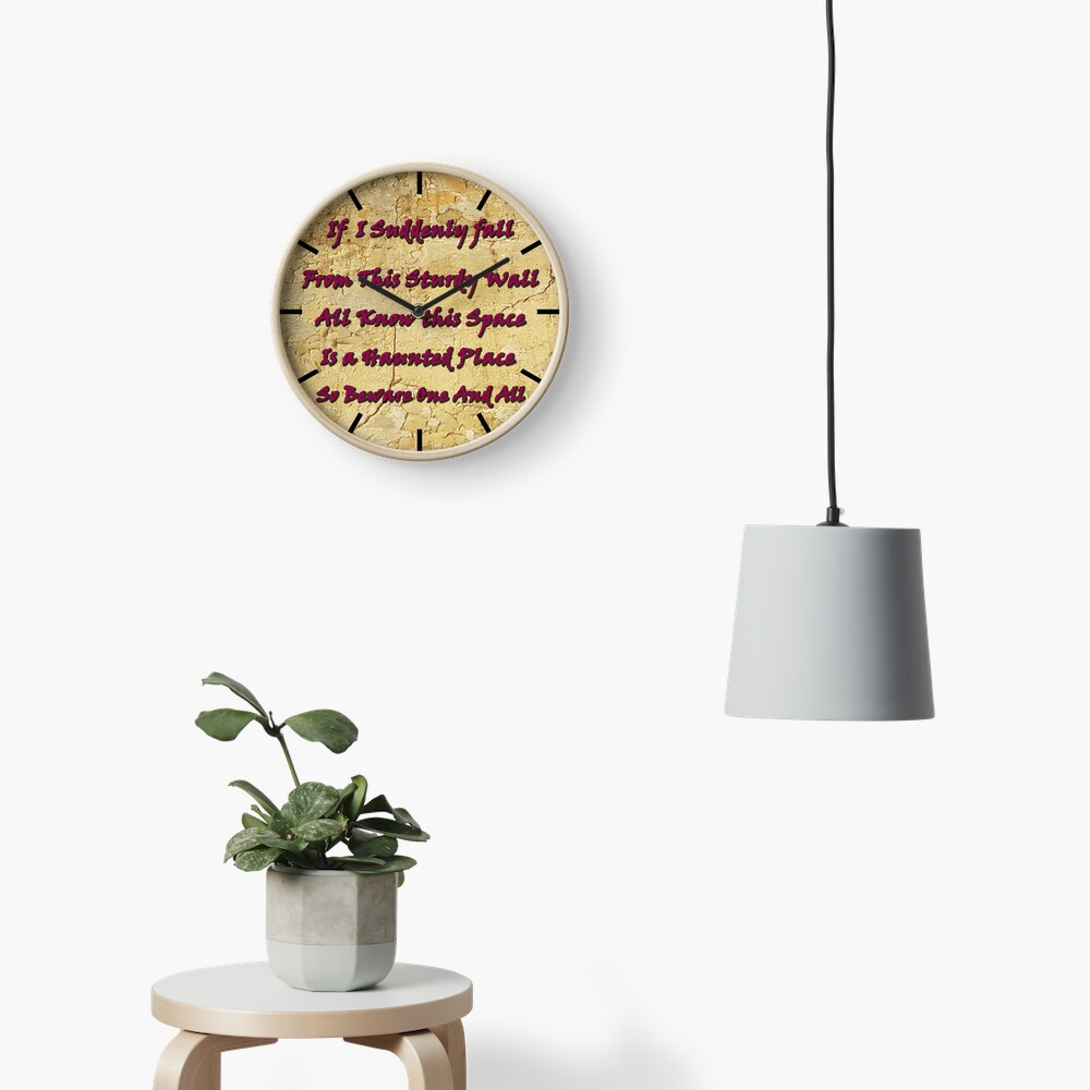 Haunted house sign. Detect if you have a haunted house with this wall art  Clock
