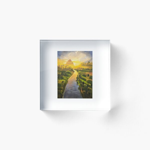 Glowing Landscape Oil Painting Acrylic Block