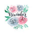 November Handlettering mit Aquarell Blumen von farbcafe