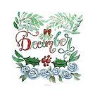 Dezember Handlettering mit Aquarell Blumen von farbcafe