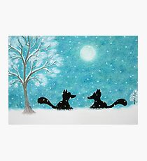 Fox Christmas Art: Foxes Silhouette in Snow  Photographic Print