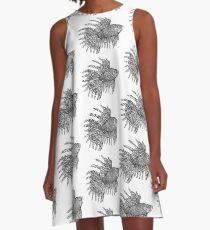 Fish - Tattoo Black and White A-Line Dress