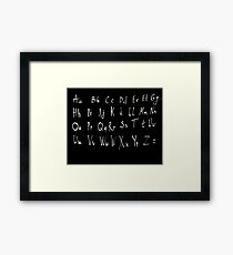 Hand drawn english alphabet Framed Print