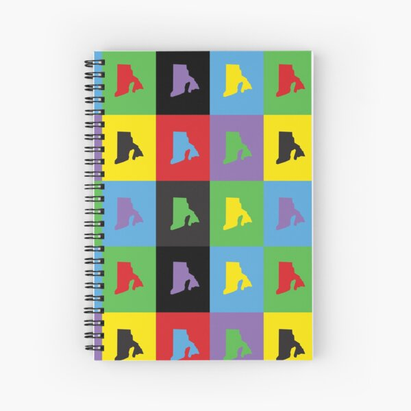 Rhode Island Colorful US State Outline Pattern Spiral Notebook