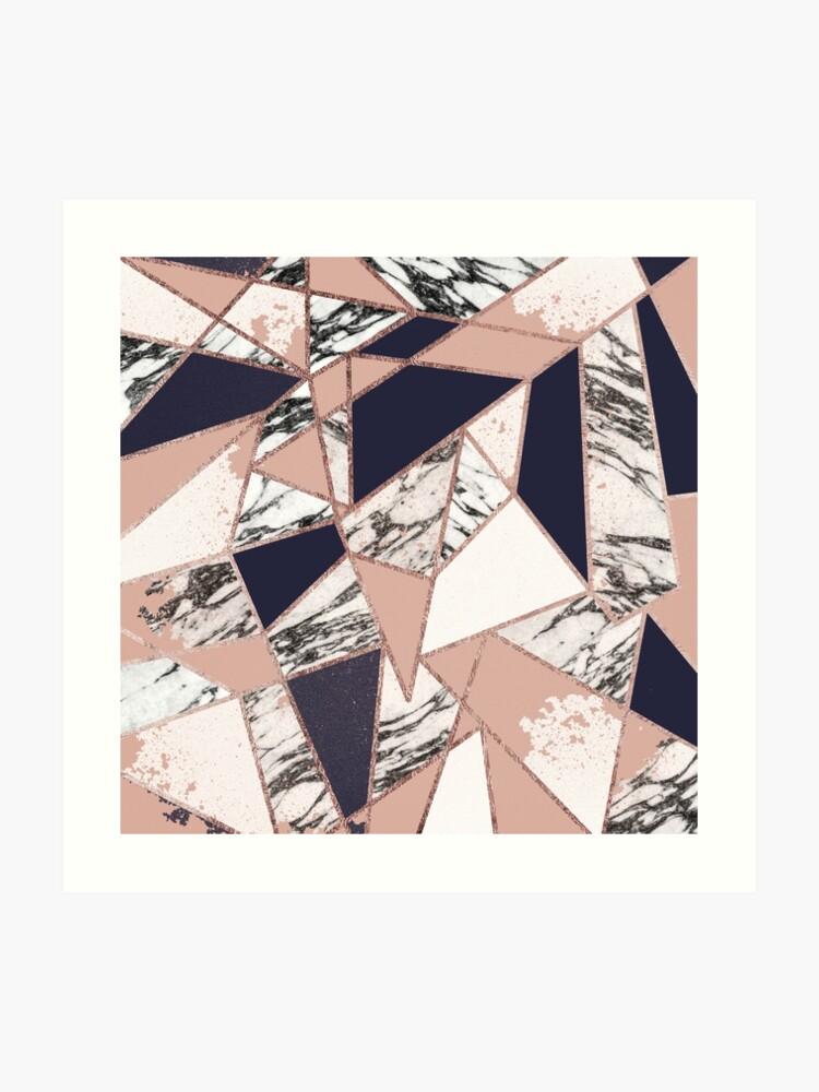 a42f4a28245342 Geometric Navy Blue Peach Marble Rose Gold Triangle