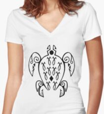Marine Sea Turtle Tattoo Style Women's Fitted V-Neck T-Shirt