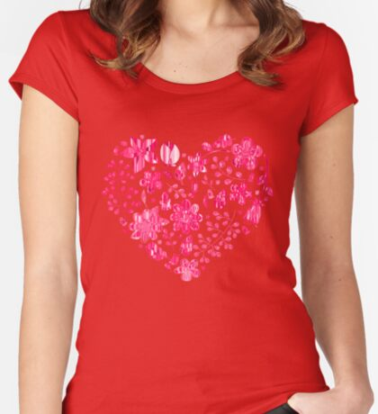 Pink Flower Heart Women's Fitted Scoop T-Shirt