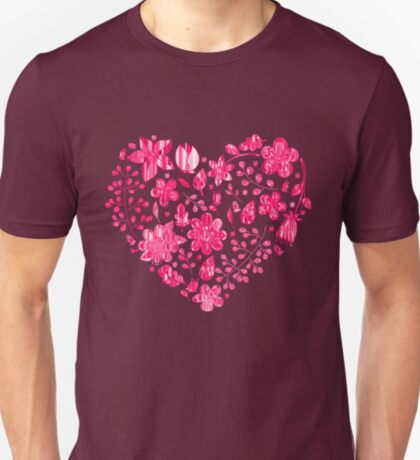 Pink Flower Heart T-Shirt