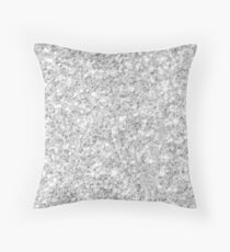 Silver Glitter Texture print Throw Pillow