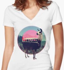 Llama Women's Fitted V-Neck T-Shirt