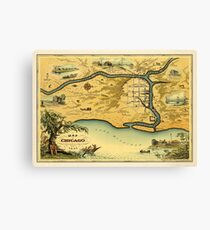 Pictorial Map of Chicago Canvas Print