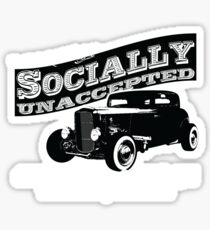 Outlaw's Garage. Socially unaccepted Hot Rod. Sticker