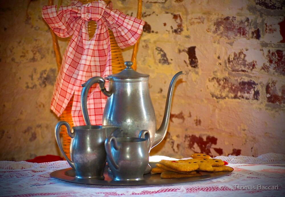 Silver Tea Pot and Cookies by TJ Baccari Photography