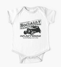Outlaw's Garage. Socially unaccepted Hot Rod light bkg One Piece - Short Sleeve