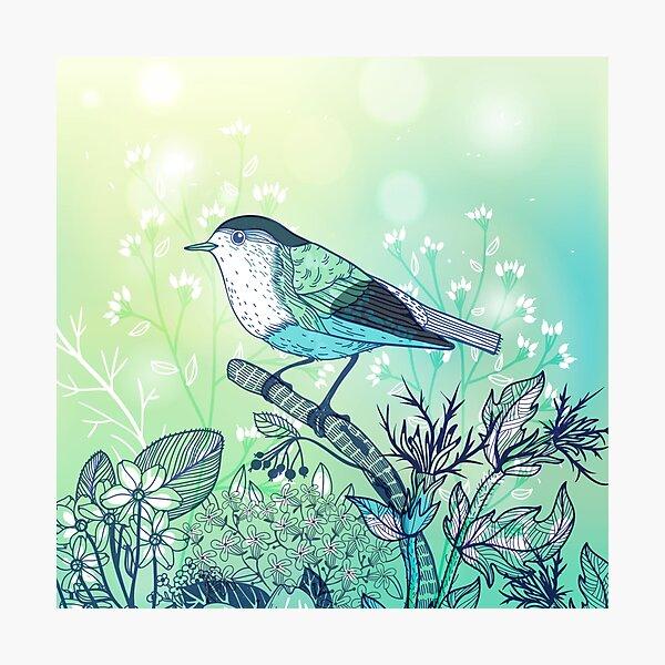 Beautiful illustration of an aqua green bird with flowers Photographic Print