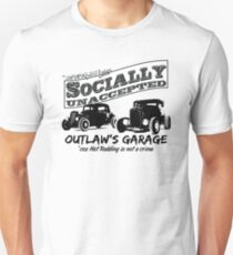 Outlaw's Garage. Socially unaccepted Hot Rods light bkg Unisex T-Shirt