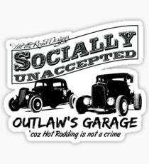 Outlaw's Garage. Socially unaccepted Hot Rods light bkg Sticker