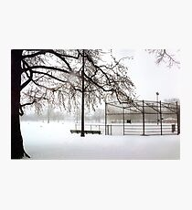 Snowy Baseball Field Photographic Print
