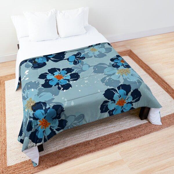 Vintage Navy Flower Pattern  Comforter