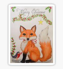 Little Christmas fox with bird Sticker