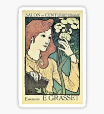 Beautiful red headed woman vintage art nouveau expo ad Sticker