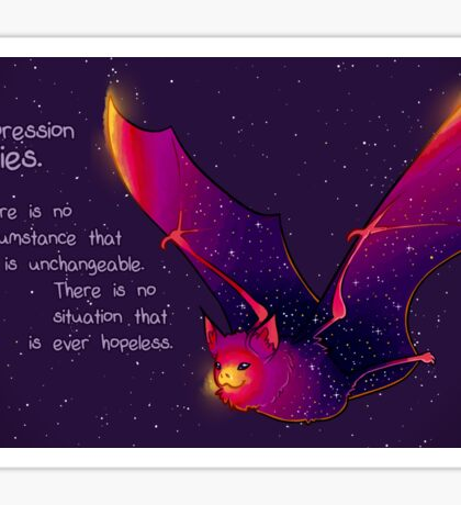 """Depression Lies"" Galaxy Bat Sticker"