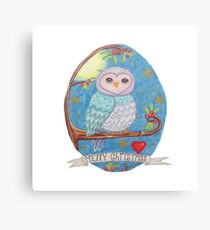 Colorful cute Little christmas forest owl Canvas Print