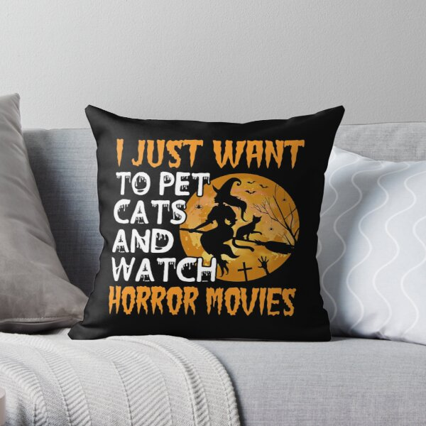 Witch on broomstick with black cats and pumpkins  Throw Pillow