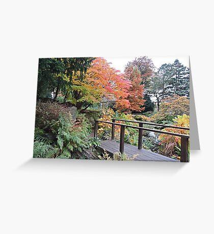 Autumn: Bridge At Botanical Gardens Greeting Card