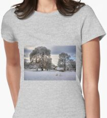 Dalmeny Green in White Women's Fitted T-Shirt