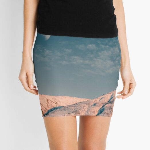 Snow Capped Mountains under Moon - Hiking Landscape Mini Skirt