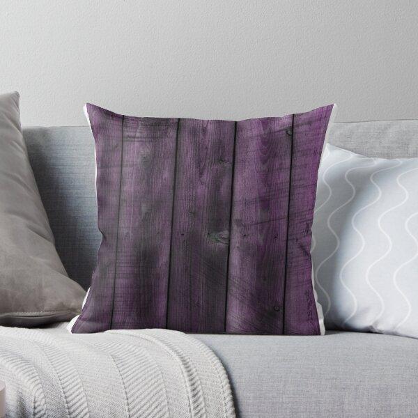 Purple woodgrain look Throw Pillow