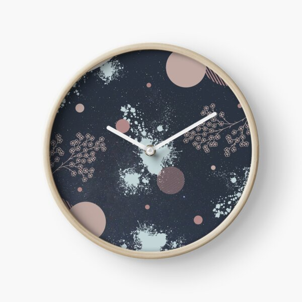 Pretty pattern with circles, paint splatter, and flowers Clock