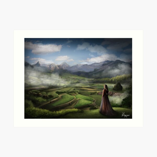 The Village in the Mountains Art Print