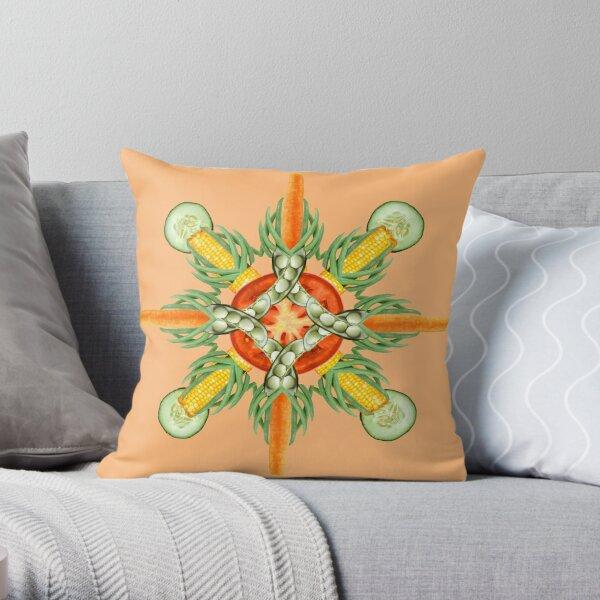 Bean-Carrot-Corn Mandala-peach Throw Pillow